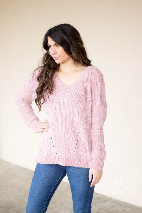 Lindsey Chenille Sweater (Dusty Pink)