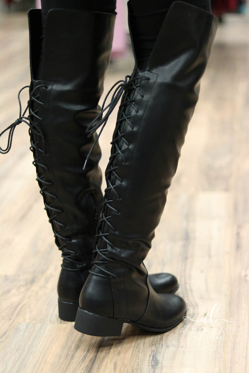 *Final Sale* Ruthie OTK Lace Up Boots (Black)