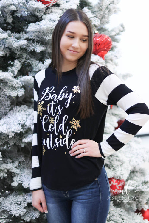 Baby It's Cold Outside Raglan (Black)