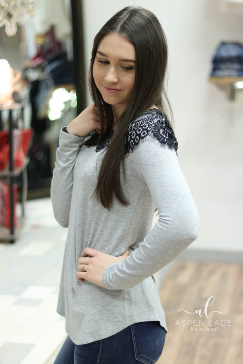 Lindsey Lace Detail Top (Grey)