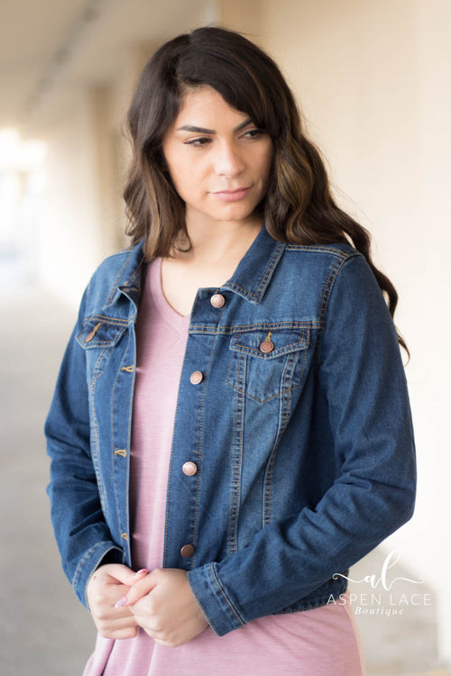 Sara Denim Jacket (Dark Blue)