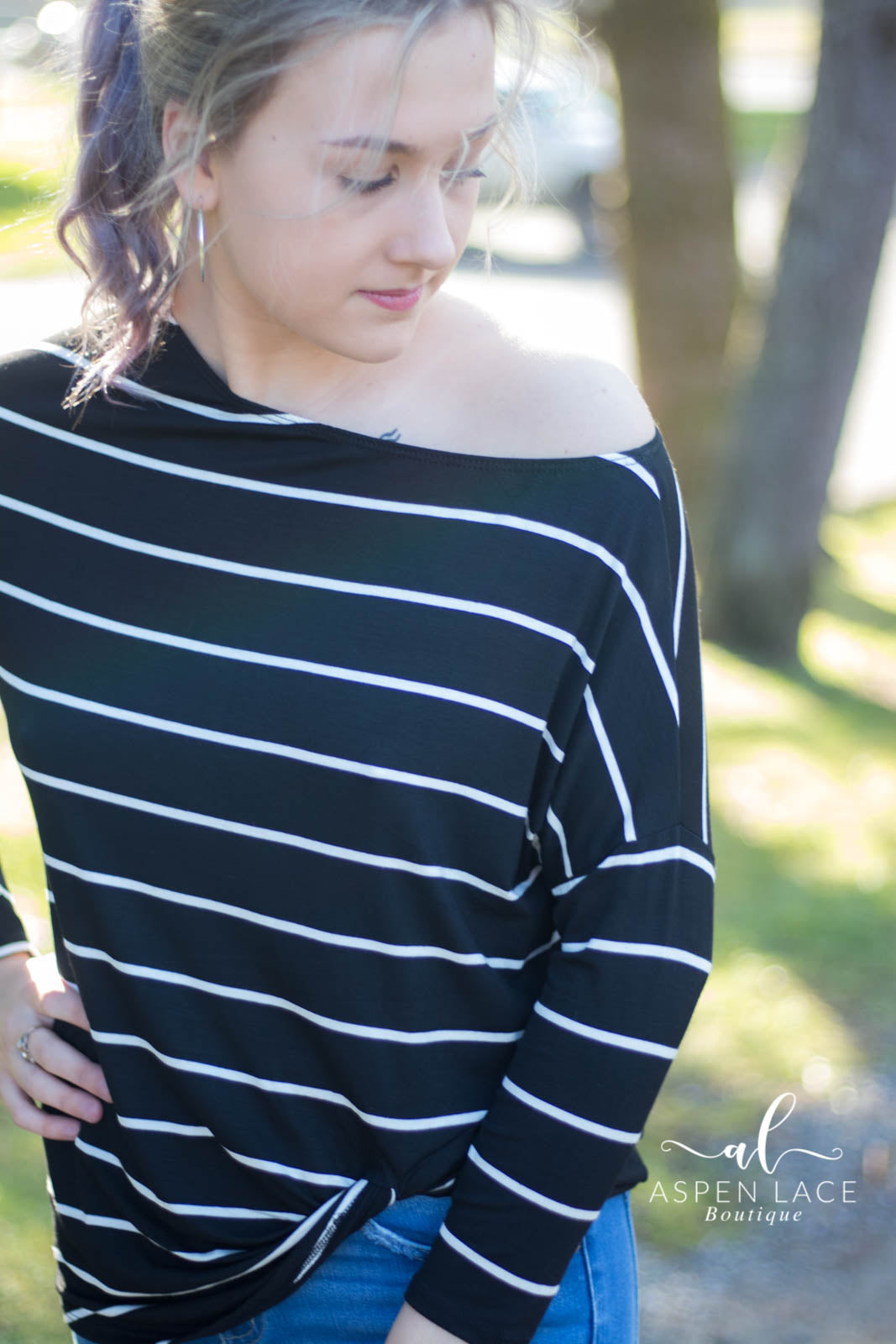 Olivia Off Shoulder Top (Black + White)
