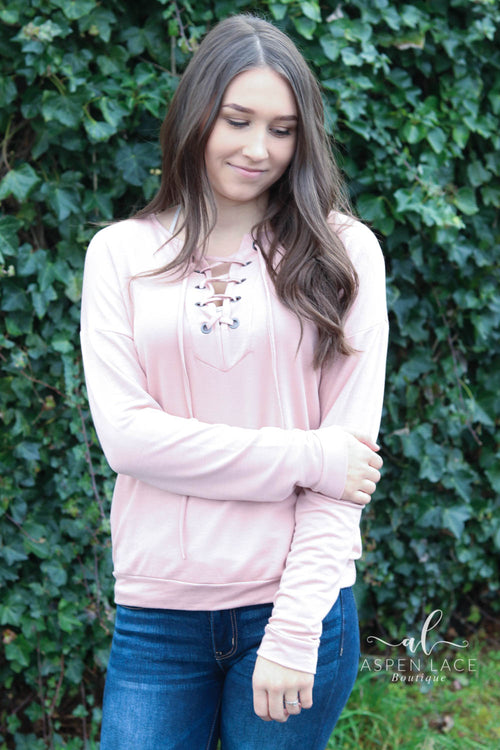 Marin Lace Up Sweater (Blush)