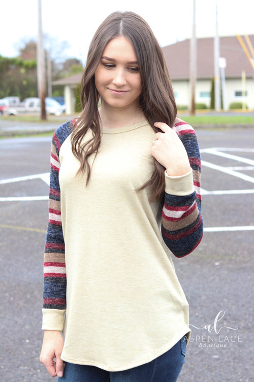 Marla Colorblock Top (Oatmeal)