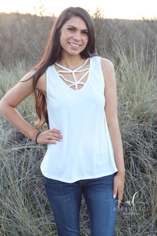 Sara Caged Tank Top (White)