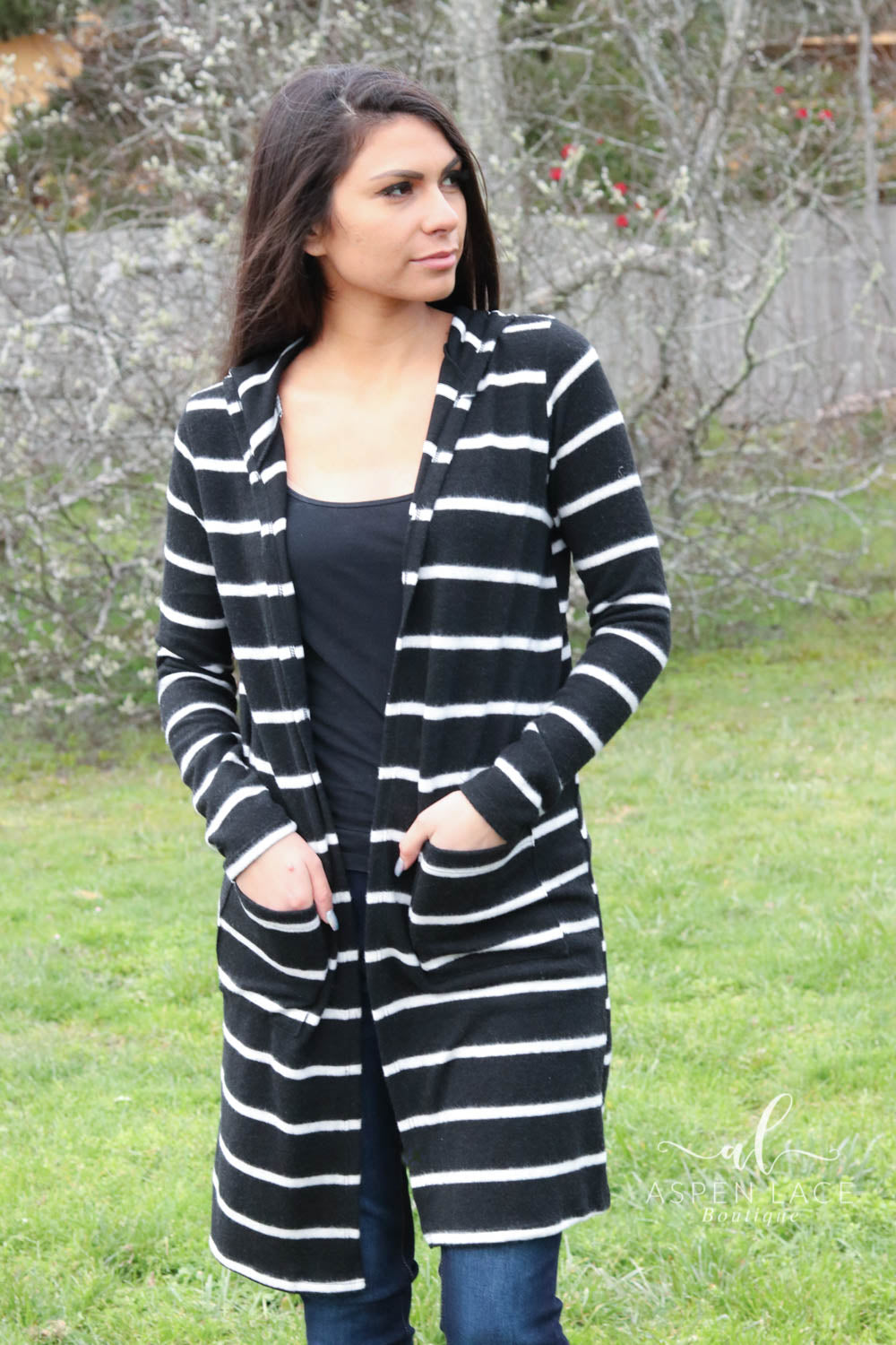 Tricia Striped Cardi (Black)