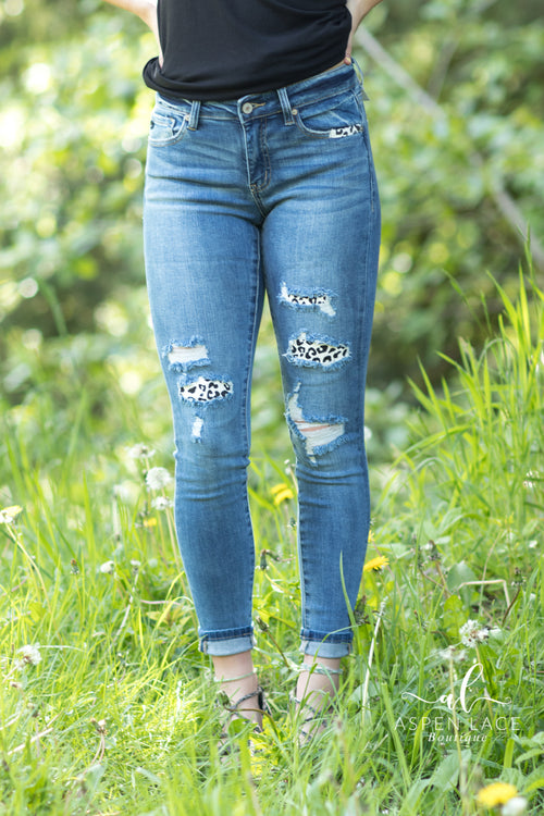 Leopard Patch KanCans (Medium Wash)