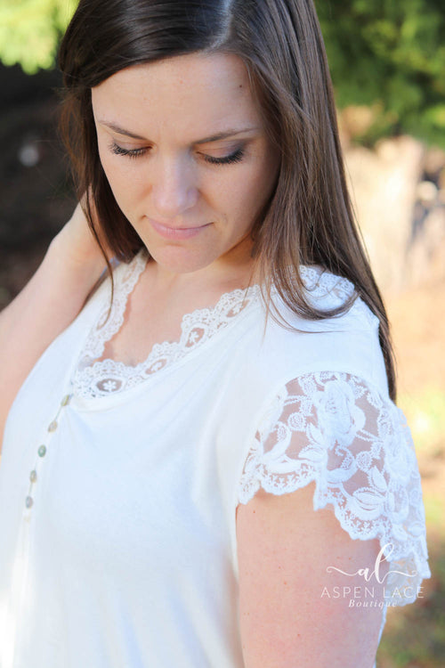 Annie Lace Detail Top- Curvalicious (Ivory)