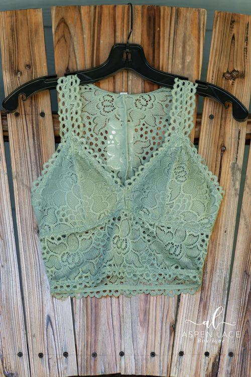 Cassidy Lace Bralette (Light Green)