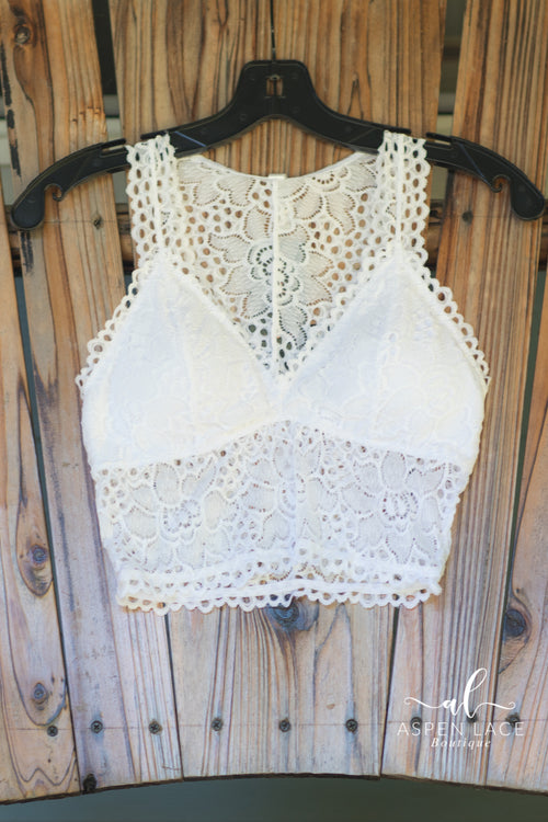 Cassidy Lace Bralette (White)