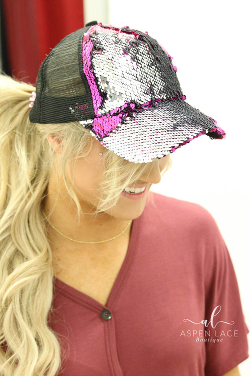 Glamour CC Sequin High Ponytail Hat (Multiple Colors)