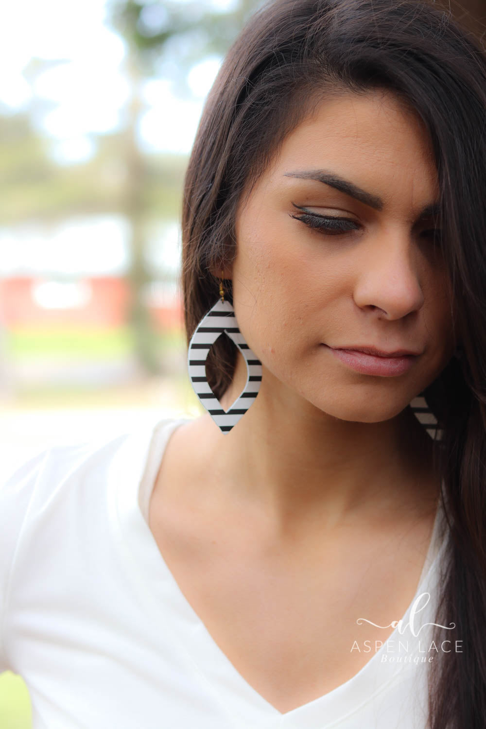 Striped Hollow Drop Earrings