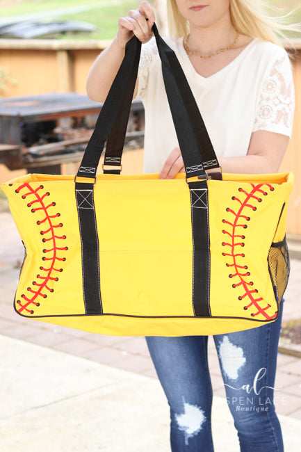 Softball Utility Tote Bag (Yellow)