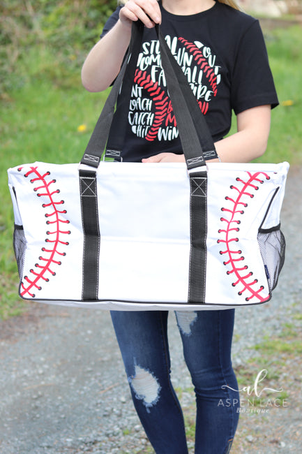 Baseball Utility Tote Bag (White)