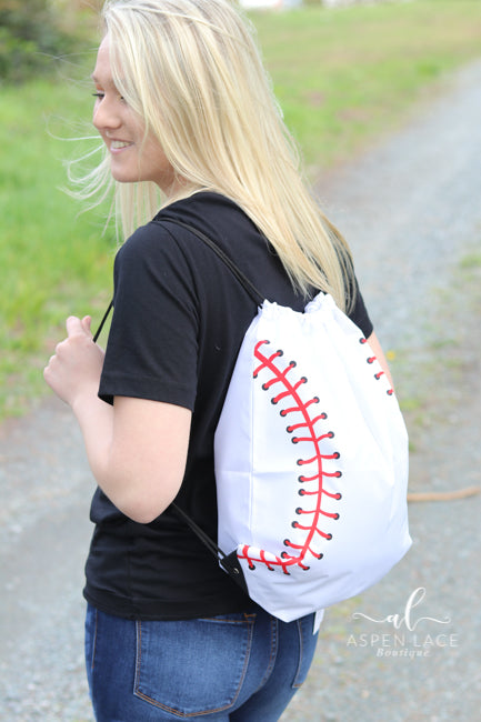 Baseball Drawstring Backpack (White)