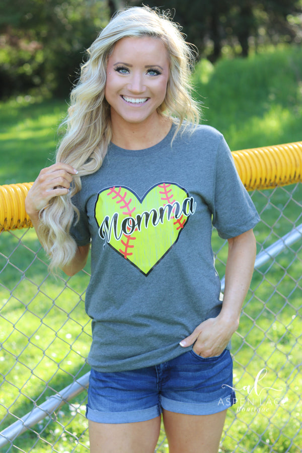 Softball Momma Graphic Tee (Grey)