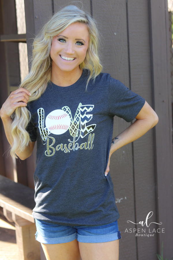 Love Baseball Graphic Tee (Black & Gold)