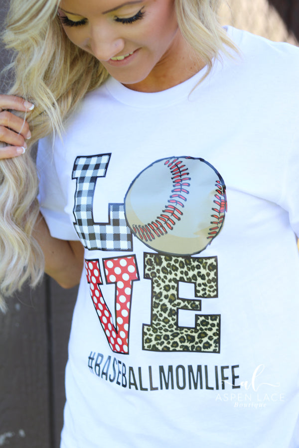 Love #baseballmomlife Graphic Tee (White)