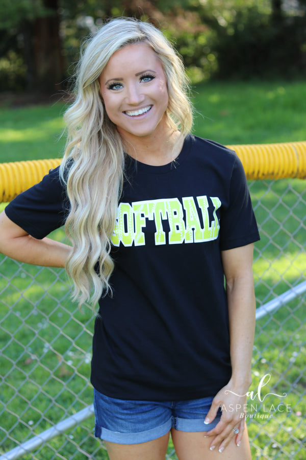 Softball Graphic Tee (Black)
