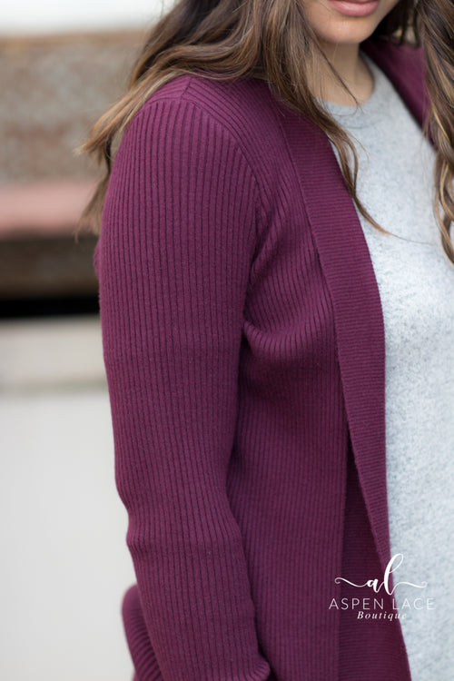 *Final Sale* Hayley Cardigan (Plum)