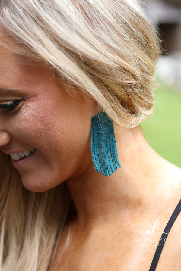 Sara Leather Fringe Earrings (Multiple Colors)