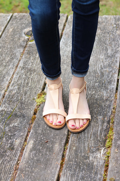 *Final Sale* Julia T Strap Sandals (Beige)