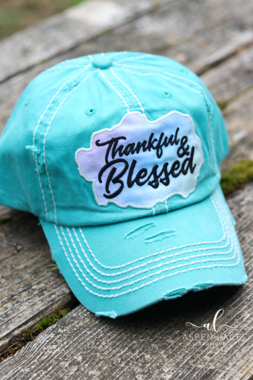Thankful & Blessed Vintage Hat (Turquoise)