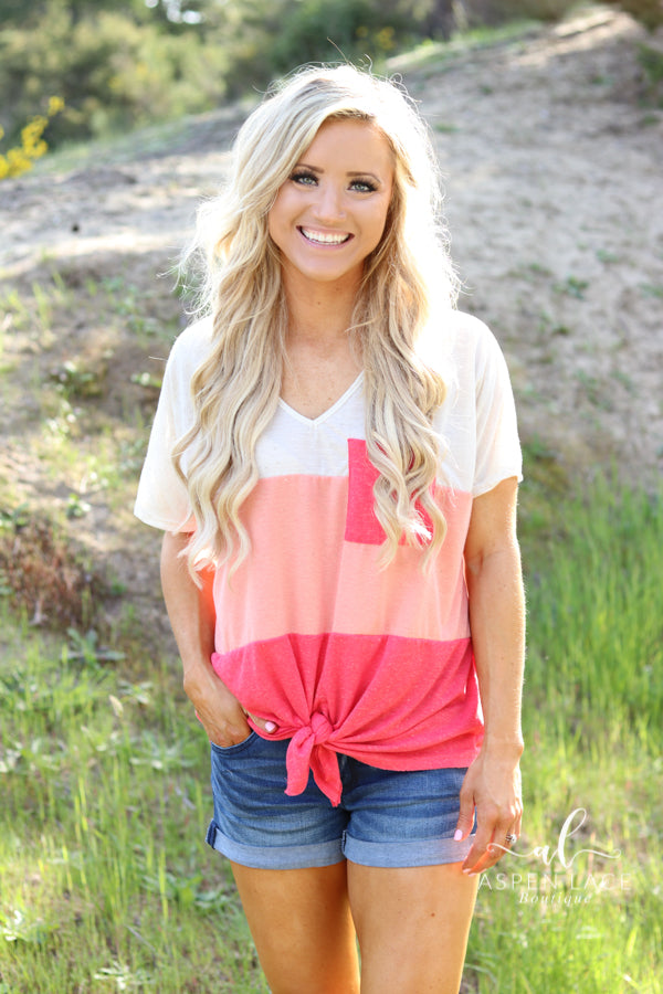 *Final Sale* Skye Colorblock Top (Coral)