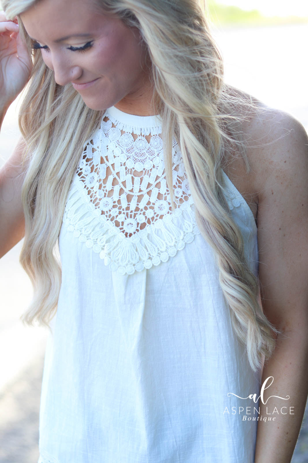 Joli Crochet Tank Top (Cream)
