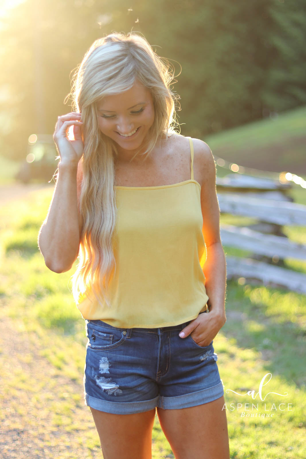 *Final Sale* Sunny Days Tie Tank (Yellow)