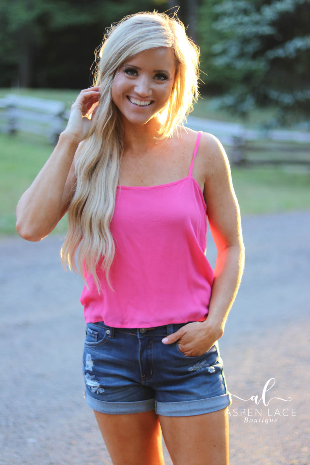 *Final Sale* Sunny Days Tie Tank (Hot Pink)