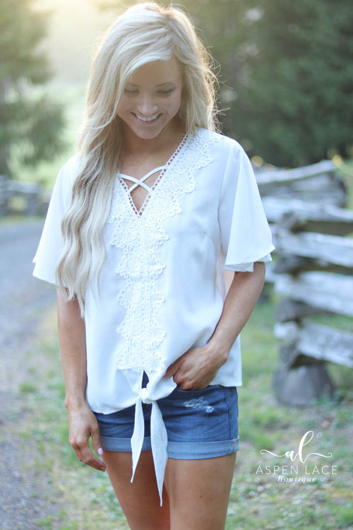 Lisa Crochet Top (White)