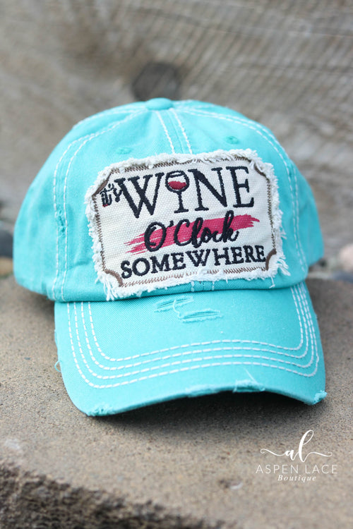 It's Wine O'Clock Somewhere Vintage Hat (Turquoise)