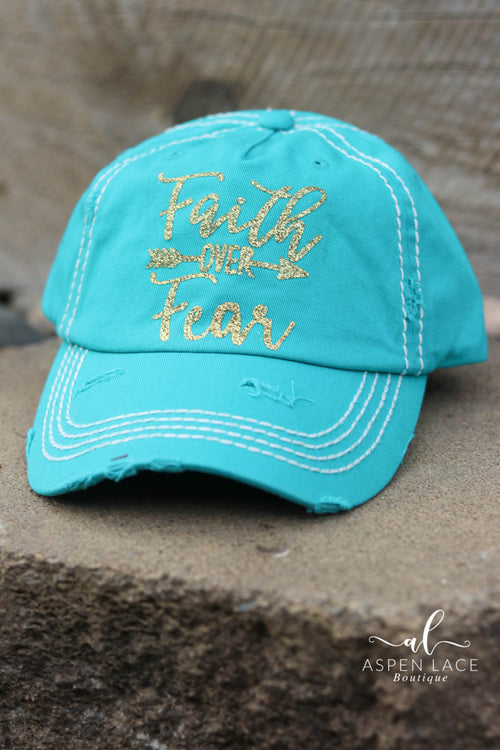 Faith Over Fear Glitter Vintage Hat (Turquoise)