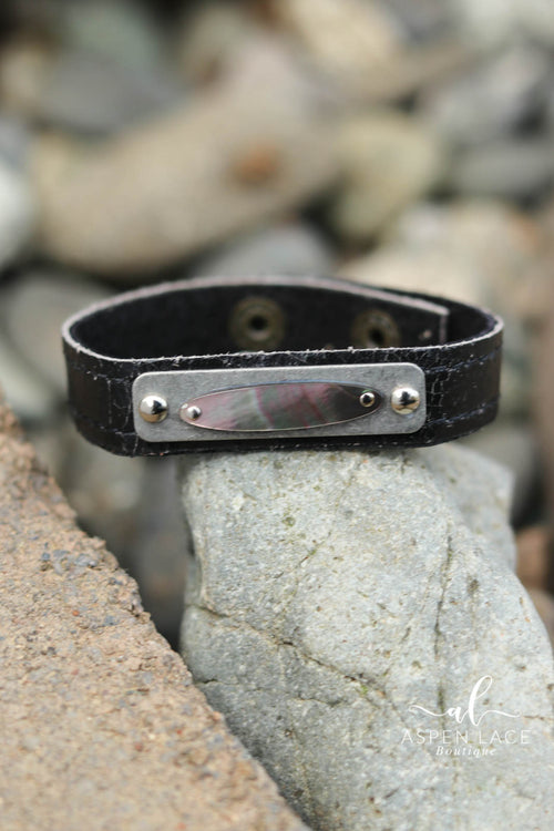 Mother of Pearl Bracelet (Black Pearl Leather)