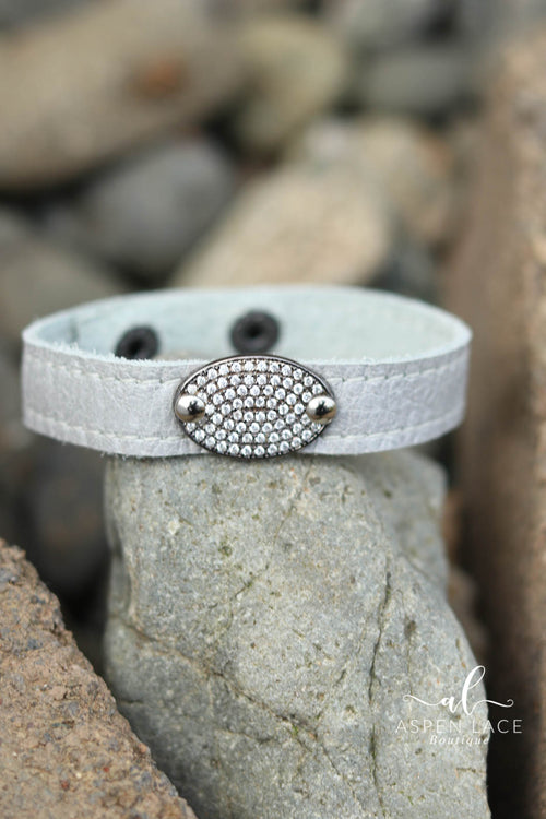 Pave Oval Bracelet (Silver Pearl Leather)