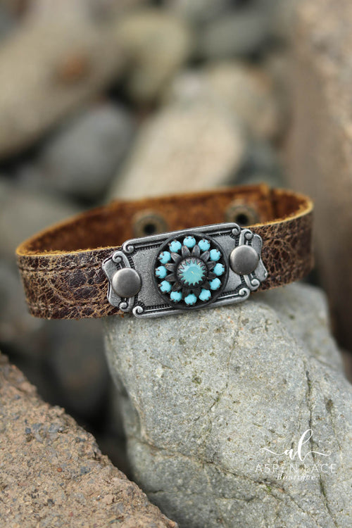 Vintage Stone Bracelet (Weathered Brown Leather)