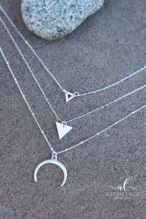 Crescent Moon Necklace & Earrings Set (Silver)