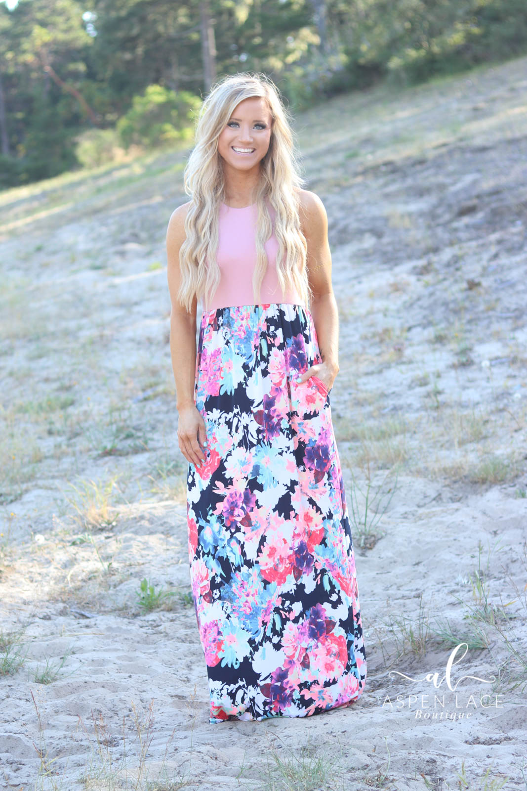 Everly Maxi Dress (Pink & Black)