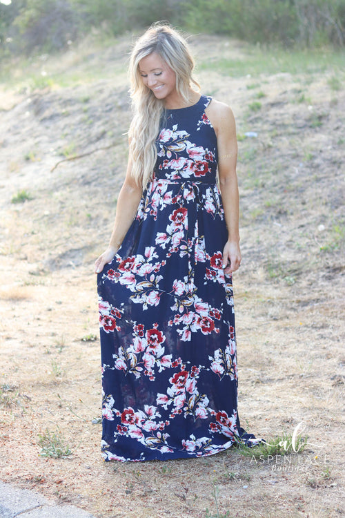 Ember Floral Maxi Dress (Navy)