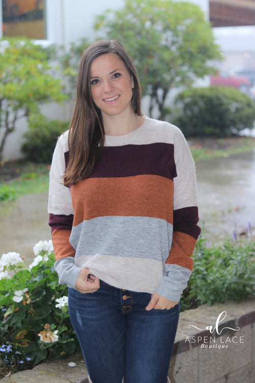 Ember Colorblock Sweater (Rust)