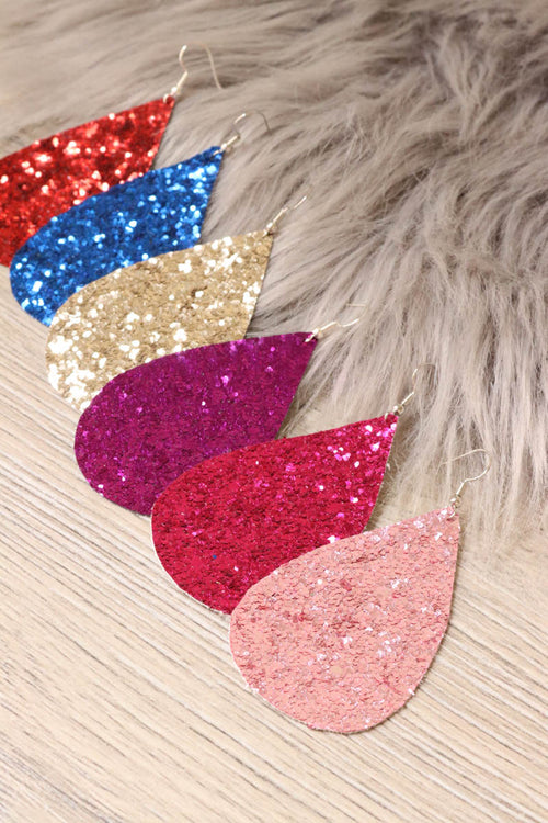 *Final Sale* Drop Glitter Earrings- Standard (Multiple Colors)