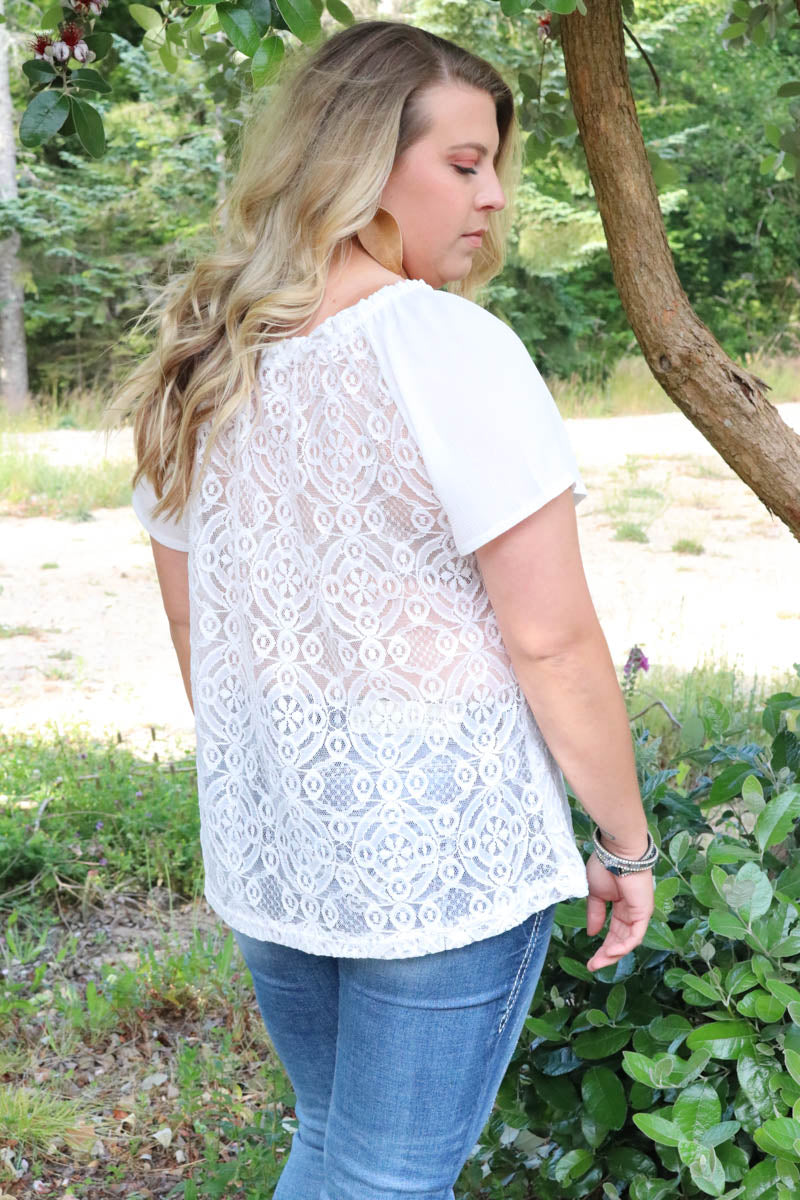Onyx Lace Top- Curvalicious (White)