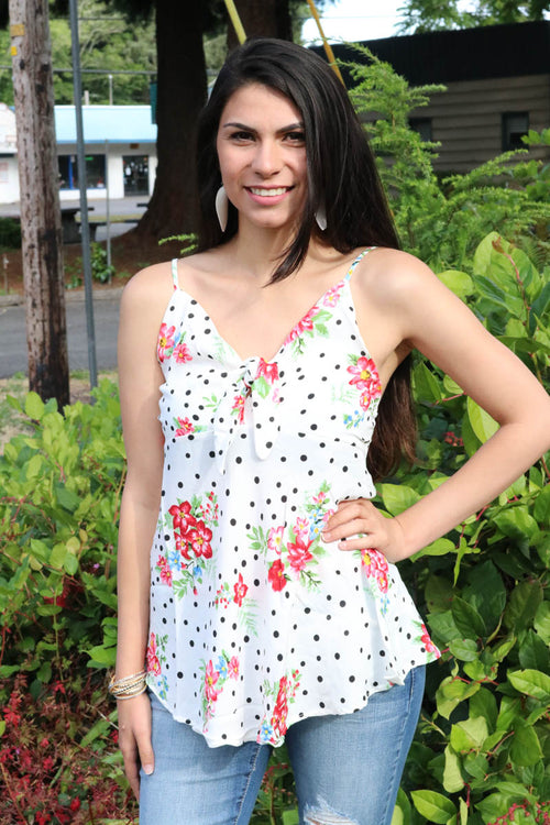 Freda Floral & Dot Tank (Off White)