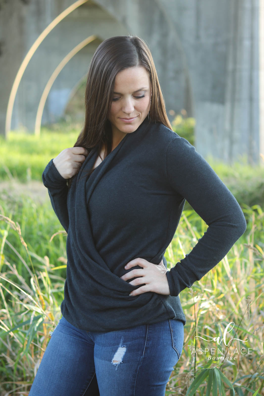 Amaya Knit Top (Charcoal)