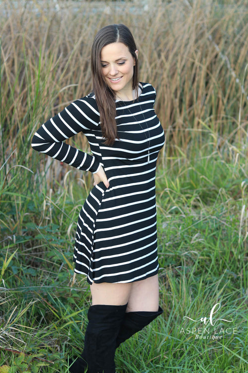 Lainey Striped Dress (Black)