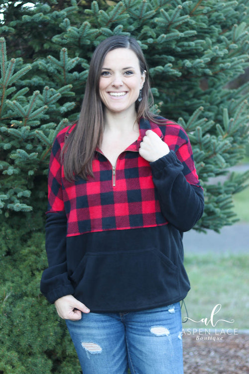 Emelia Fleece HalfZip (Buffalo Plaid)