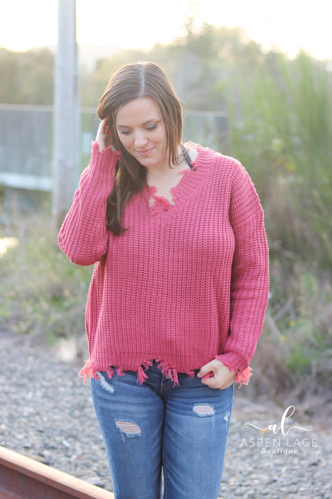 *Final Sale* Sara Distressed Sweater (Murberry)