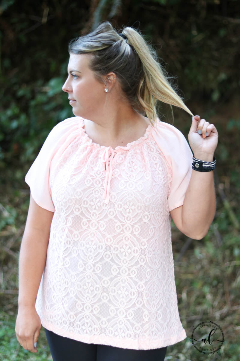 Onyx Lace Top- Curvalicious (Pink)
