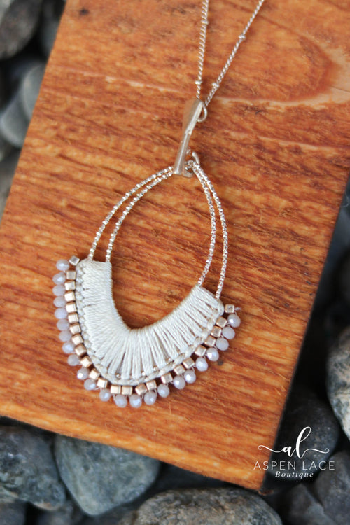 Wrapped Teardrop Necklace (Natural)